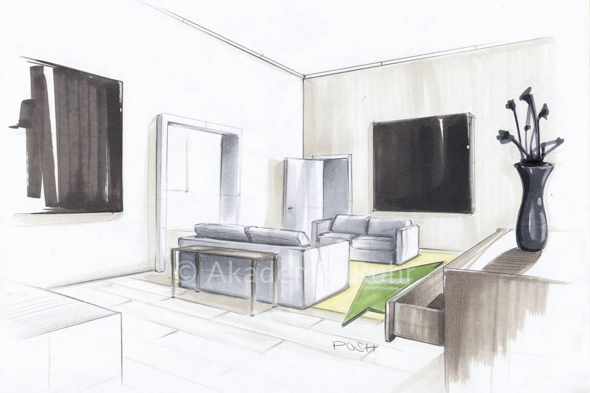 Wie zeichne ich Räume in Zwei Punkt Perspektive   Akademie Ruhr